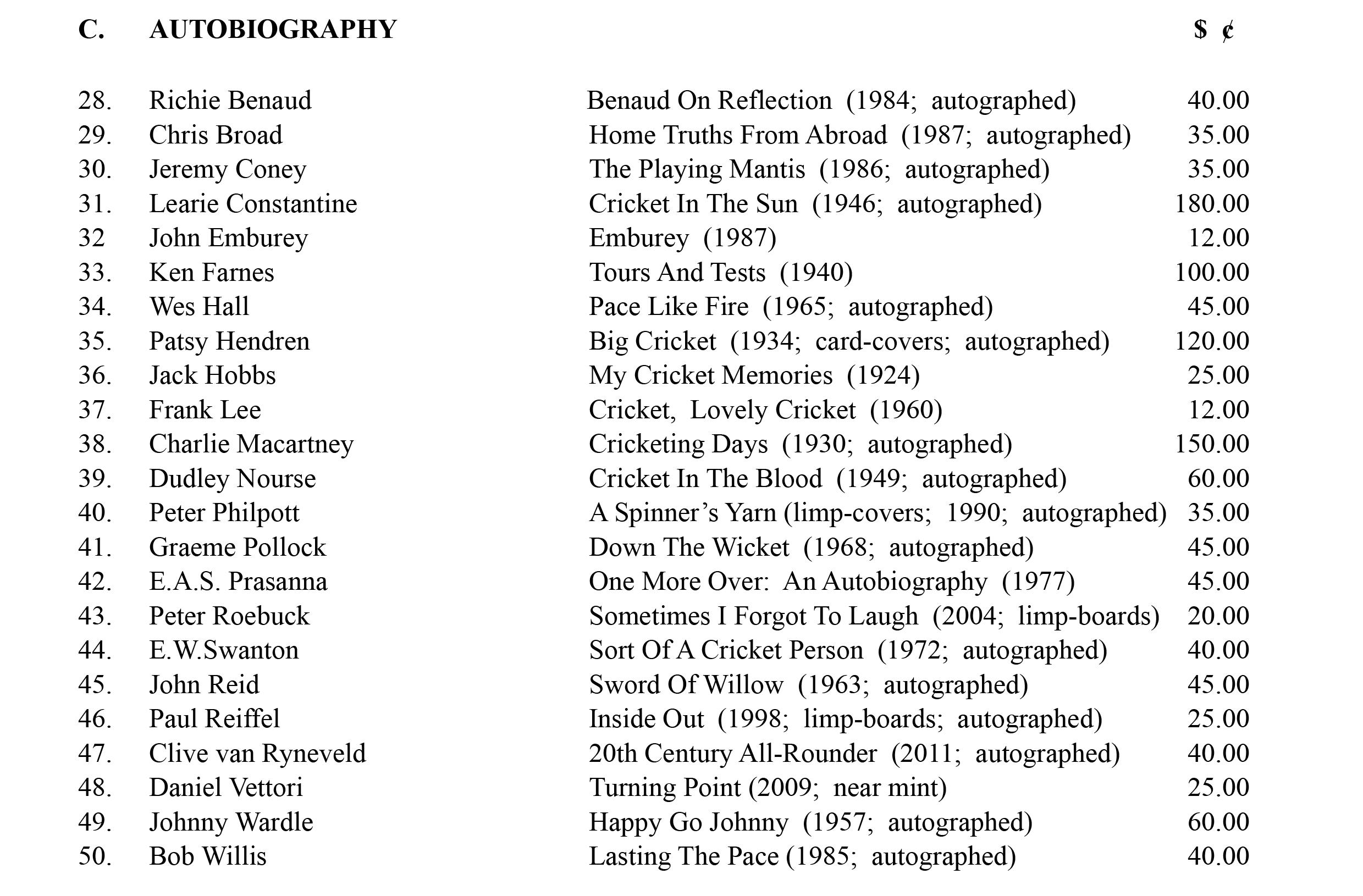 Cricket Autobiographies June 2015 Roger Page Cricket Books