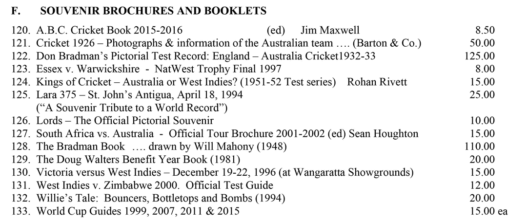 Roger Page Cricket Books Souvenirs and Brochures December 2015