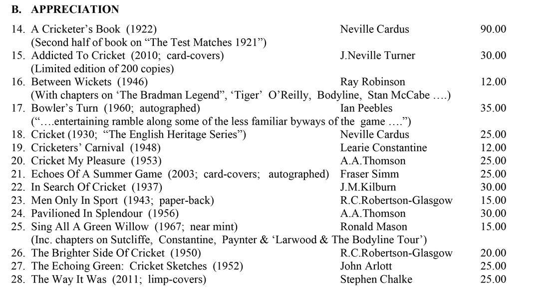 Roger Page Cricket Books April 2016 Cricket Appreciation 2016