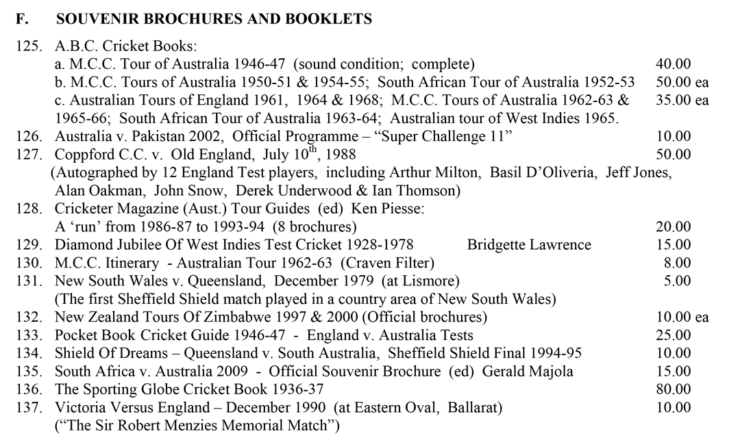 Roger Page Cricket Books Souvenirs and Brochures April 2016