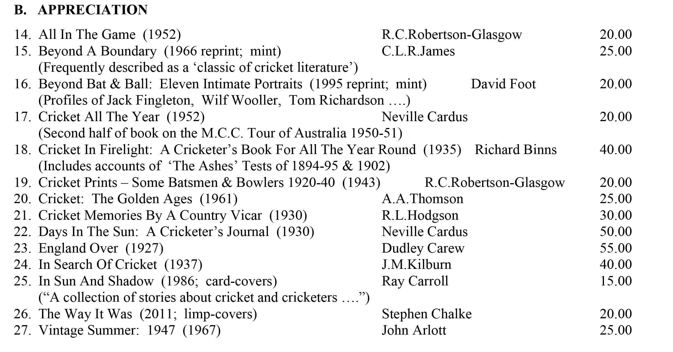 Cricket Appreciation Roger Page Cricket Books August 2016
