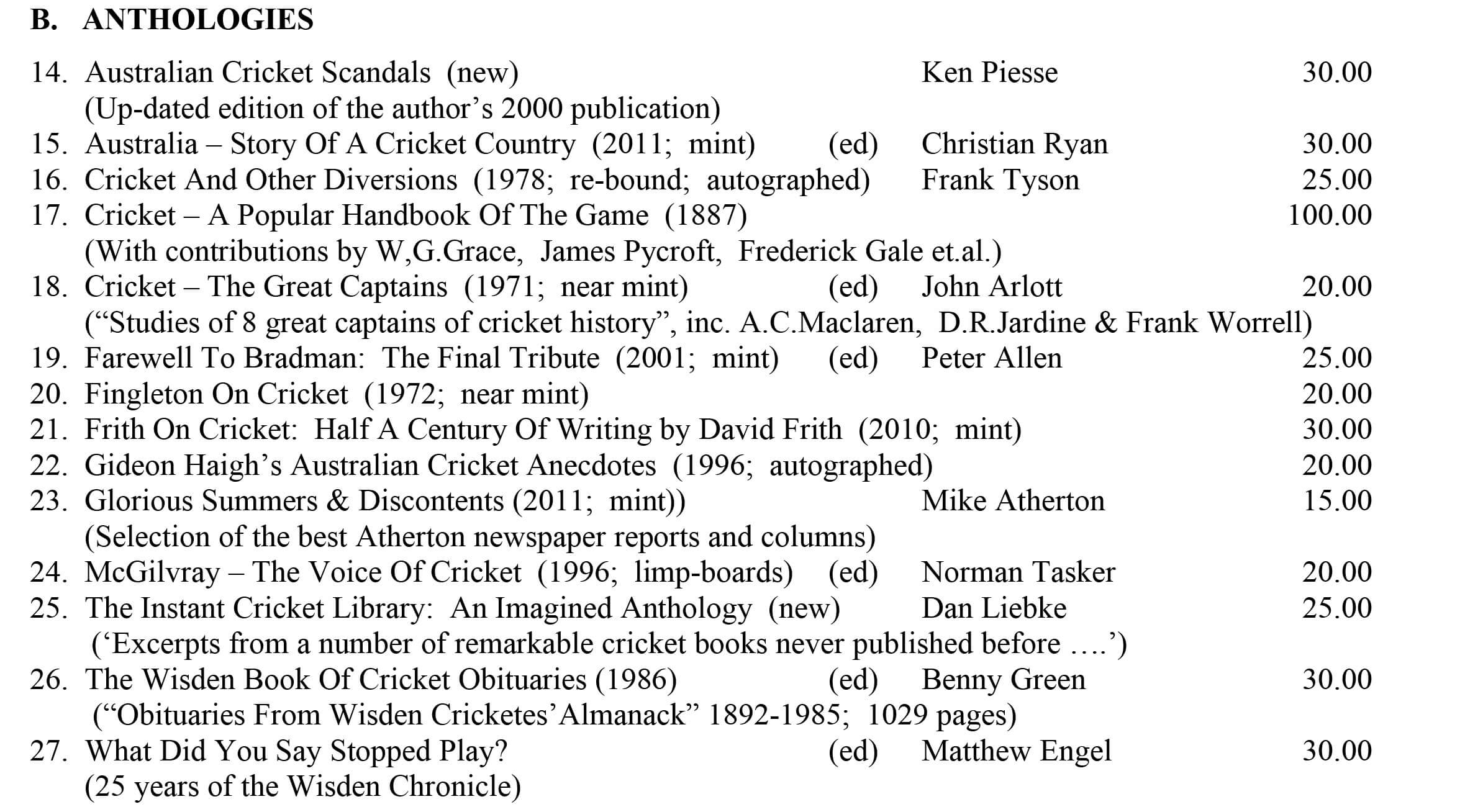 Cricket Anthologies December 2018 Roger Page Cricket Books December 2018  Roger Page Cricket Books December 2018
