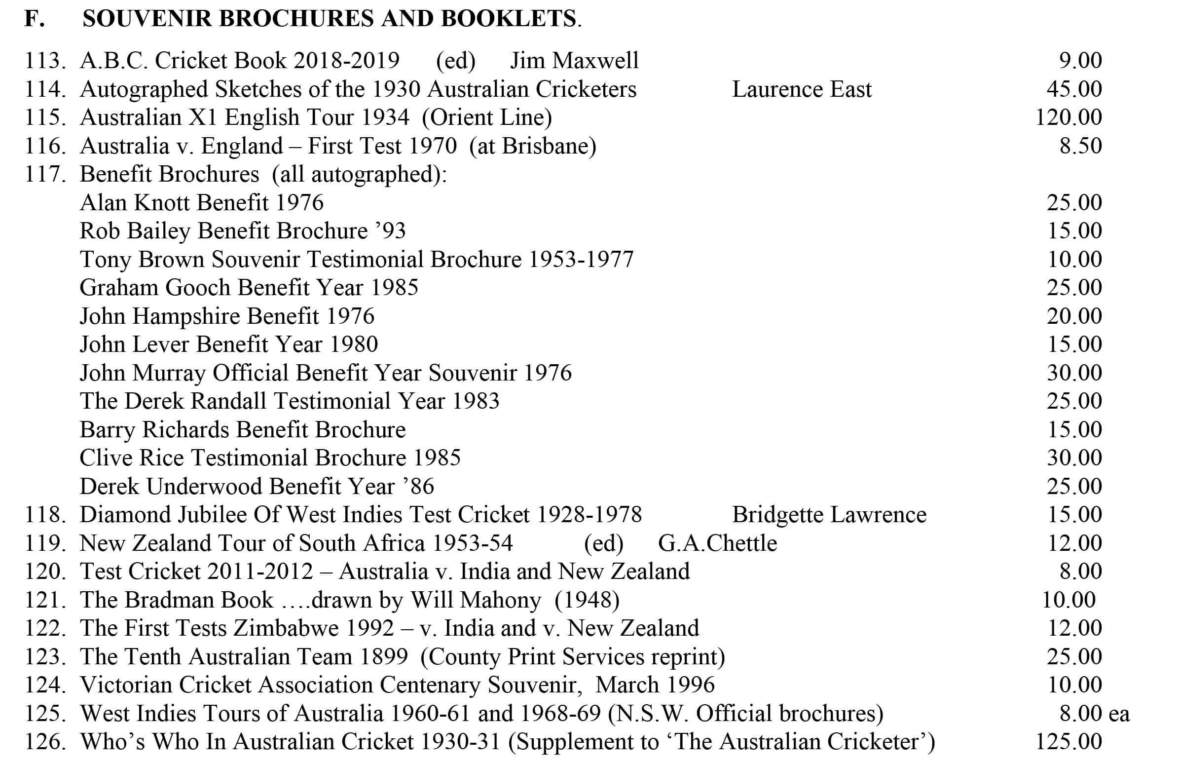 Cricket Souvenirs and Brochures Roger Page Cricket Books December 2018 Roger Page Cricket Books December 2018 Cricket Souvenirs and Brochures