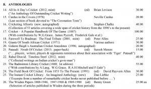 Cricket Anthologies Books Roger Page Cricket Books February 2019