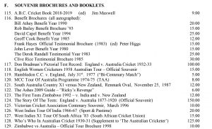 Cricket Souvenirs and Brochures Roger Page Cricket Books February 2019