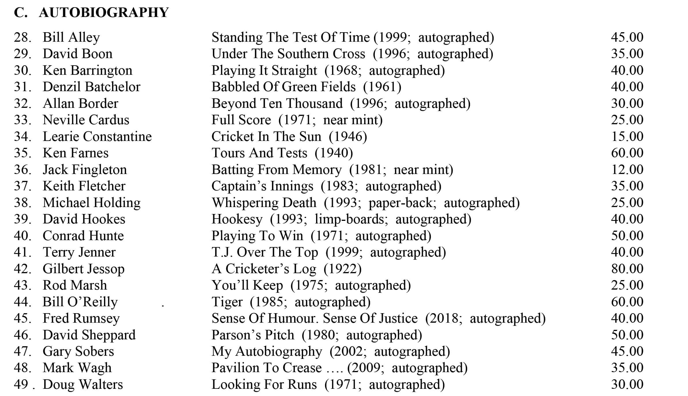 June 2020 Catalogue Roger Page Cricket Books Cricket Autobiographies
