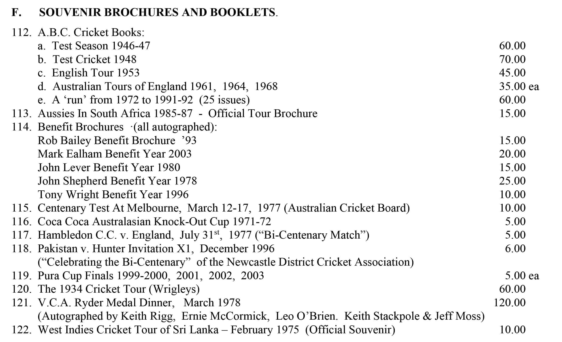 Roger Page Cricket Books Souvenir Cricket Brochures Booklets June 2020